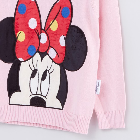Minnie Mouse Long Sleeves Round Neck Applique Detail Sweater