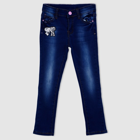 Sequin Detail Full Length Jeans with Button Closure