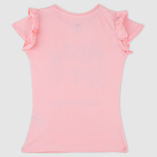Printed Short Sleeves T-Shirt with Frills