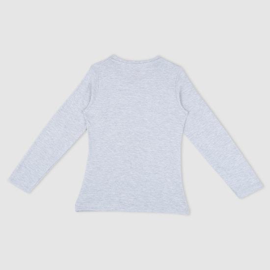 Printed Long Sleeves Melange T-Shirt
