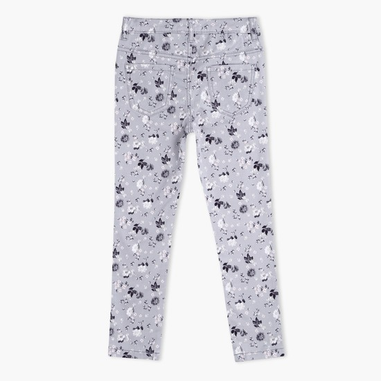 Printed Full Length Pants with Button Closure