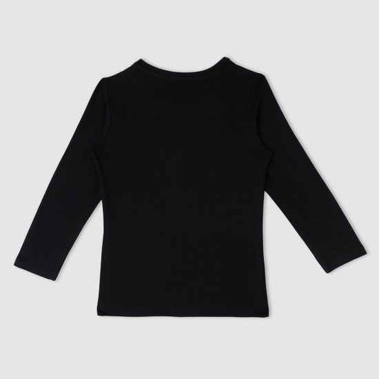Embellished Round Neck Long Sleeves T-Shirt