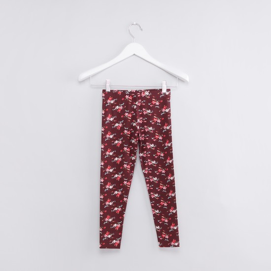 Floral Printed Full Length Leggings with Elasticised Waistband