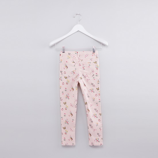 Printed Full Length Jeans with Button Closure and Pocket Detail