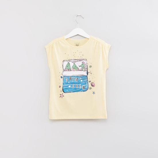 Printed Round Neck Sleeveless T-Shirt