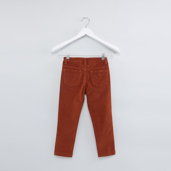 Textured Full Length Pants with Button Closure and Pocket Detail