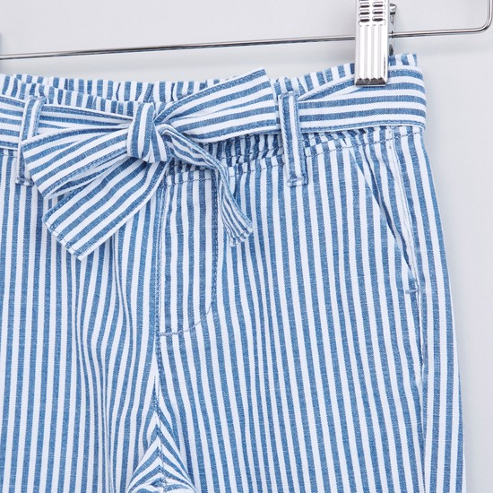 Striped Trousers with Pocket Detail and Tie Ups