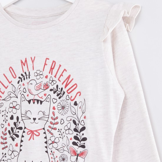 Printed Round Neck Top