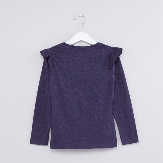 Printed Long Sleeves T-Shirt with Ruffle Detail