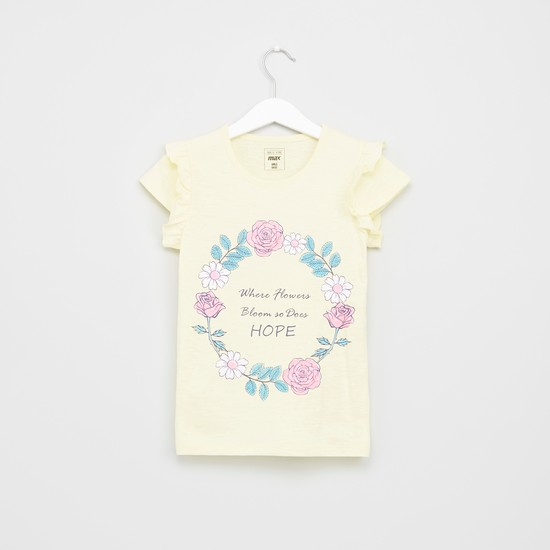Printed Short Sleeves Ruffle Detail T-Shirt