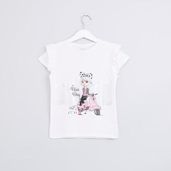 Printed Ruffle Detail Round Neck T-Shirt