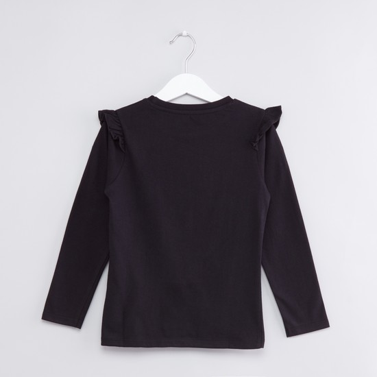 Printed Long Sleeves with Ruffle Detail