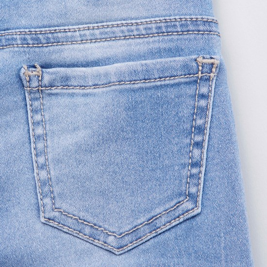 Embellished Detail Jeans with Elasticised Waistband and Pocket Detail