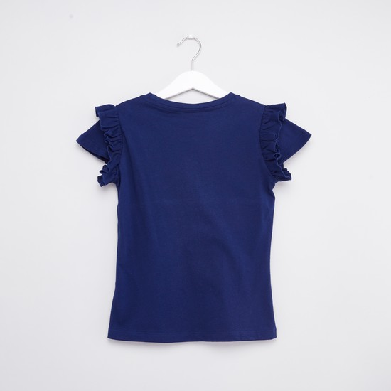 Printed T-shirt with Round Neck and Ruffle Detail Cap Sleeves