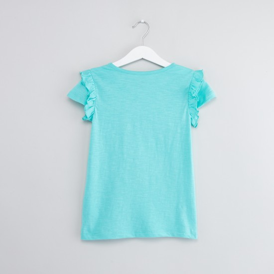 Printed Ruffle Detail T-shirt with Round Neck and Cap Sleeves