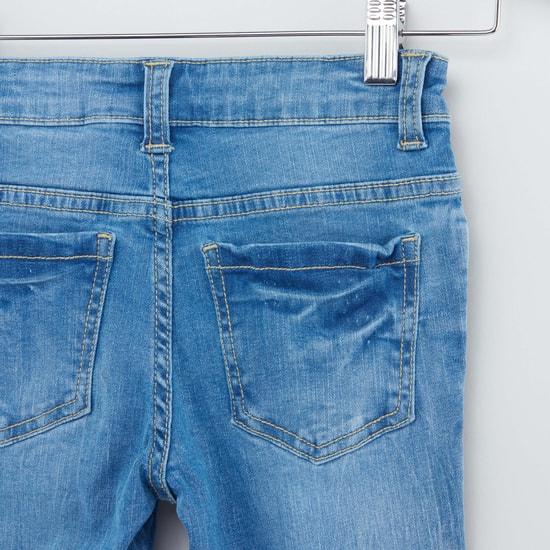 بنطلون جينز طويل بزر إغلاق و5 جيوب