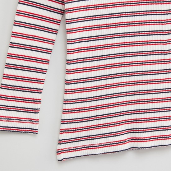 Striped T-shirt with Round Neck and Long Sleeves