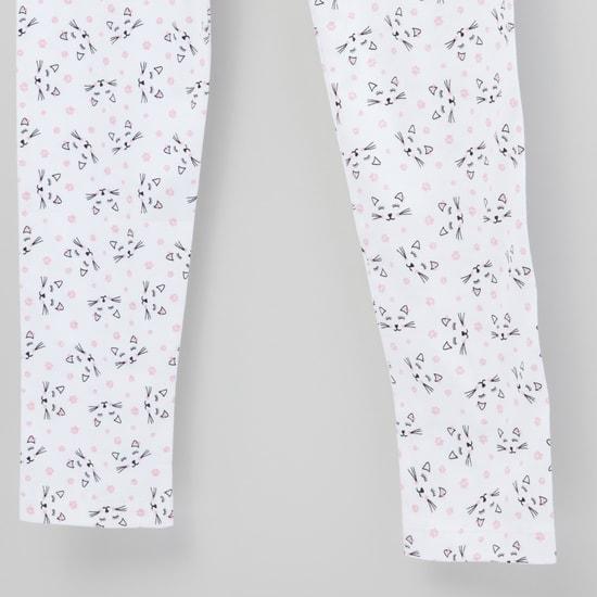 Printed Leggings with Elasticated Waistband