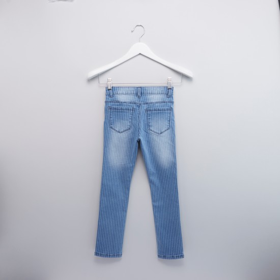 Full Length Striped Jeans with Pocket Detail and Belt Loops