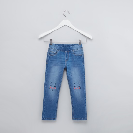Full Length Embroidered Jeggings with Pocket Detail