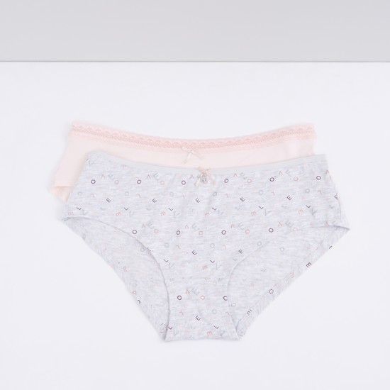 Lace Detail Briefs with Elasticised Waistband - Set of 2