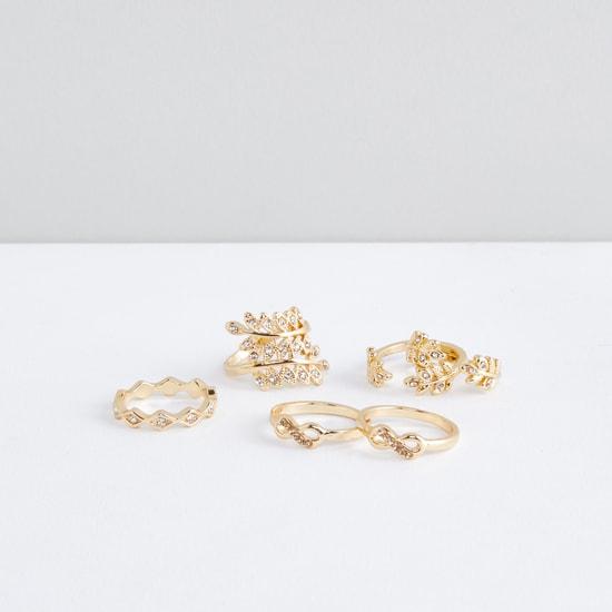 Metallic Finger Ring with Stud Detail - Set of 6