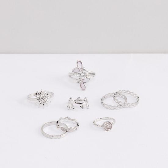 Textured Metallic Finger Ring - Set of 8