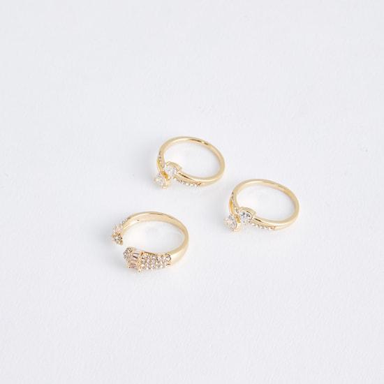 Metallic Finger Ring with Stud Detail - Set of 3