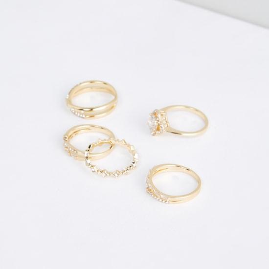 Studded Metallic Finger Rings - Set of 5