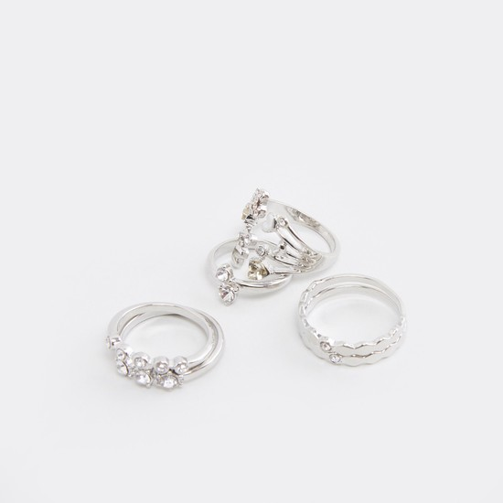 Set of 6 - Studded Metallic Finger Rings