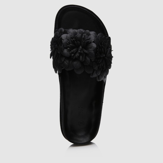 Embroidered Flats with Flower on Top