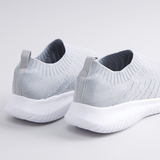 Textured Slip On Sports Shoes with Pull Tab