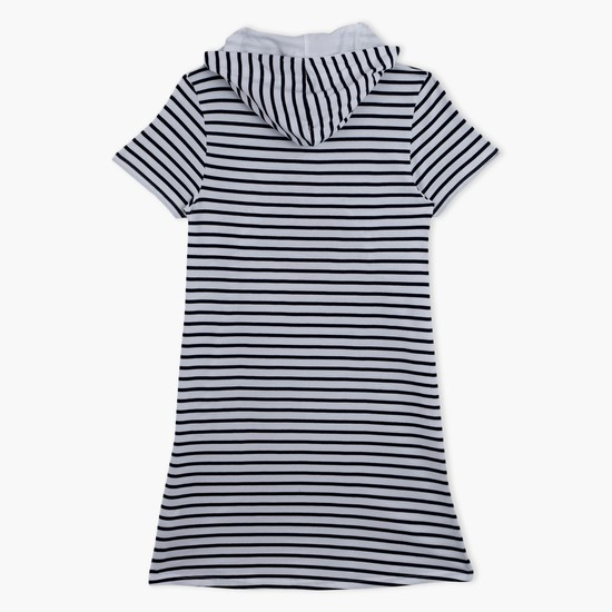 Striped T-Shirt Dress with Hood