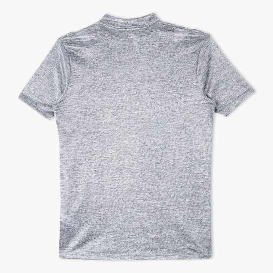 Textured High Neck T-Shirt