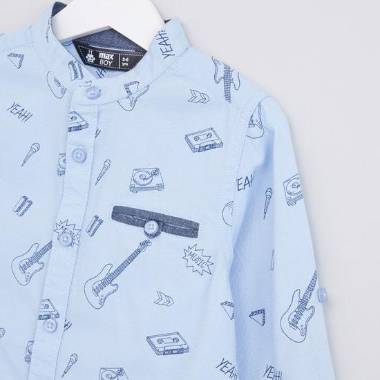 Printed Long Sleeves Mandarin Collar Shirt