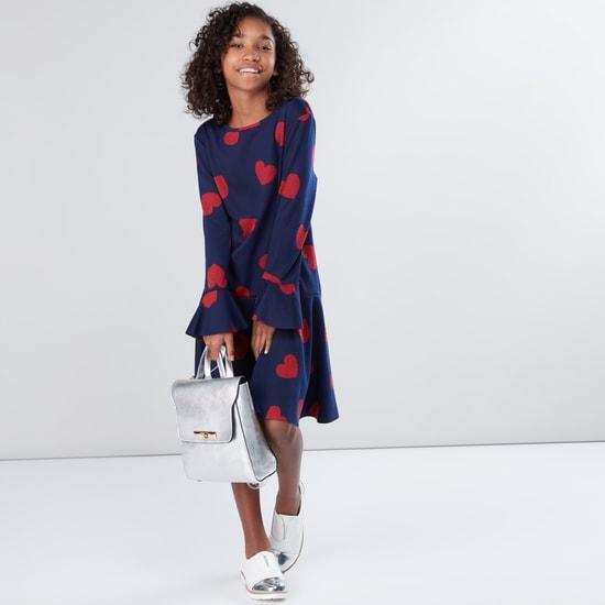 Printed Drop Waist Long Sleeves Dress
