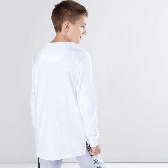 Printed V-Neck Long Sleeves T-Shirt