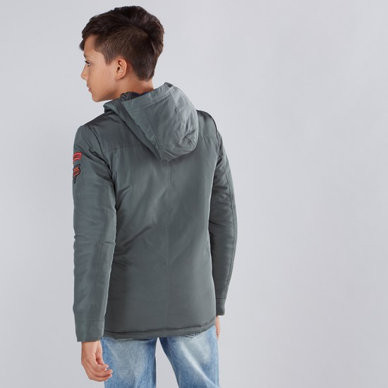 Applique Detail Long Sleeves Hooded Parka Jacket