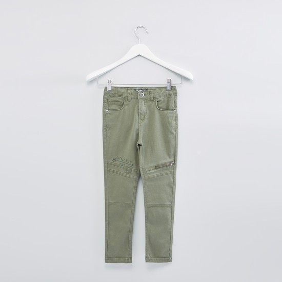 Full Length Pants with Pocket Detail and Button Closure
