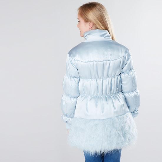 Plush and Pocket Detail Long Sleeves Jacket