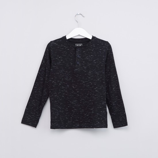 Textured Henley Neck T-Shirt