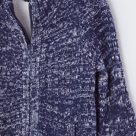Textured High Neck Long Sleeves Cardigan