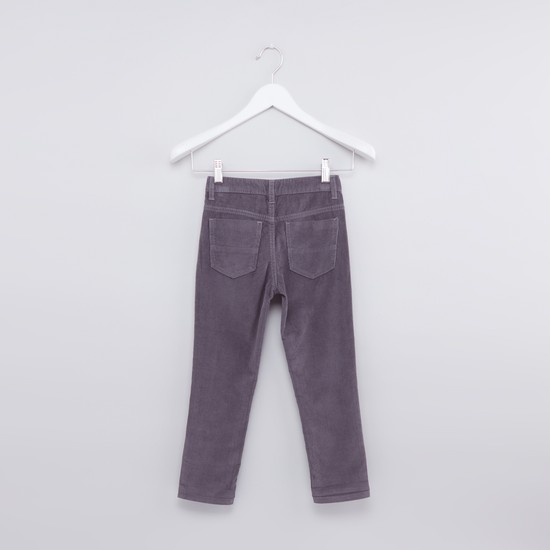 Full Length Corduroy Pants with Button Closure and Pocket Detail