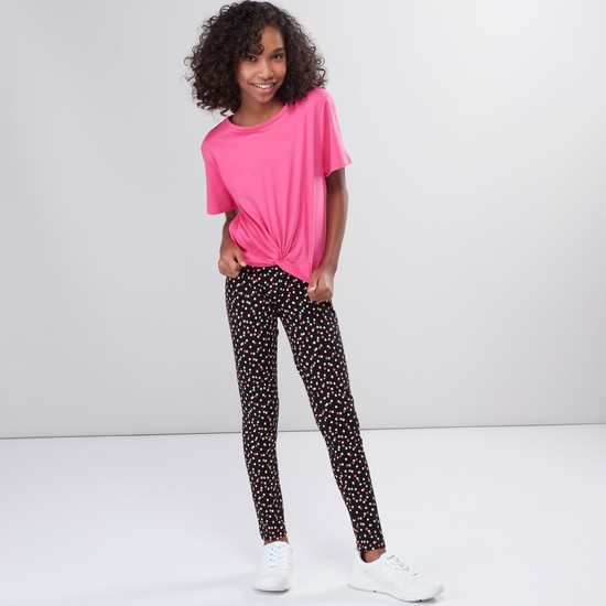 Polka Dots Printed Full Length Leggings with Elasticised Waistband