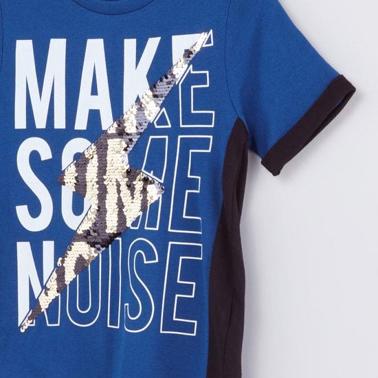 Printed Sequin Detail Round Neck T-Shirt