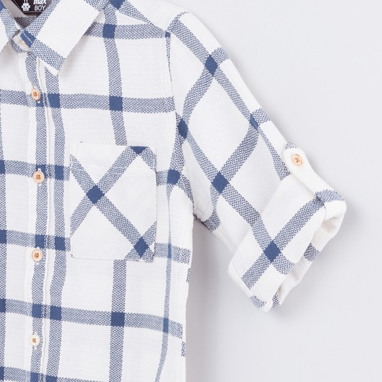 Chequered Pocket Detail Long Sleeves Shirt