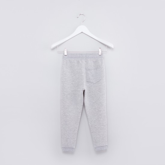 Textured Full Length Jog Pants with Elasticised Waistband
