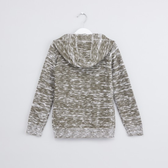 Textured Hoodie Sweater with Long Sleeves