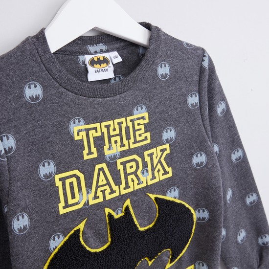 Batman Printed Sweatshirt with Round Neck and Long Sleeves