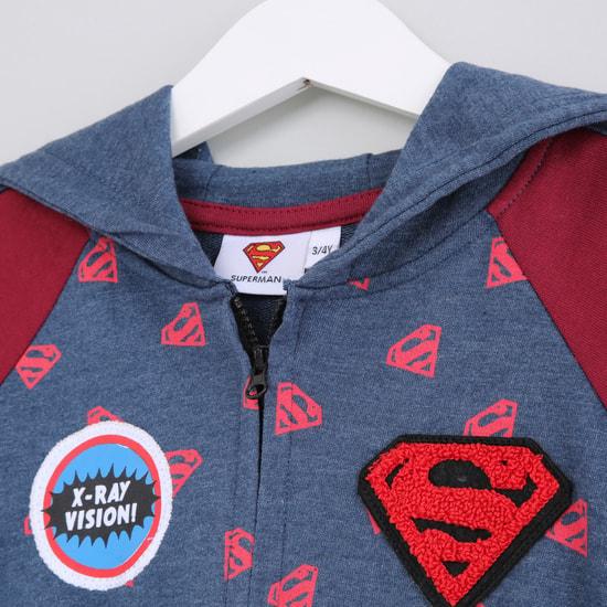 Superman Printed Raglan Sleeves Hoodie